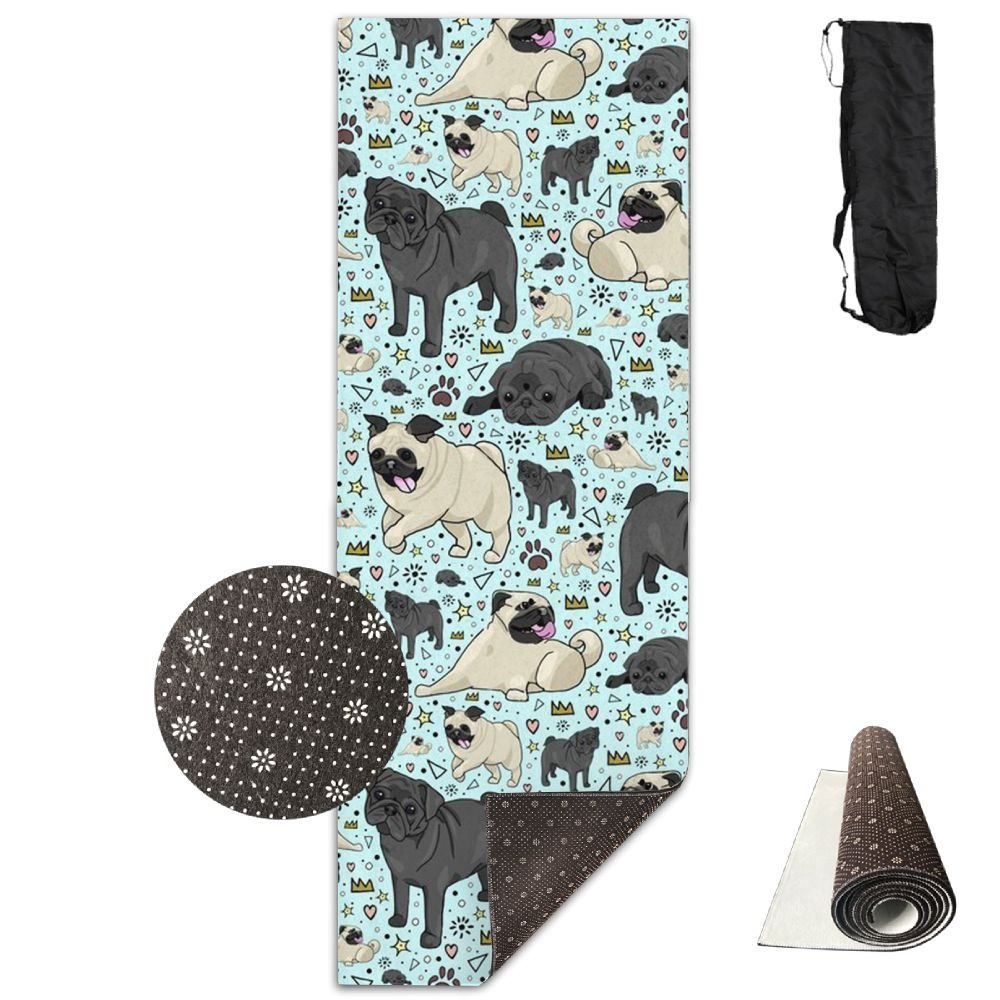 KIOT156 Pug Life Eco-Friendly Non-Slip Yoga Mat Thick Pro Exercise And Pilates Mat With A Yoga Bag