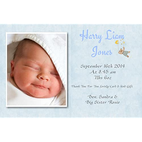 40 personalised baby thank you cards baby announcement cards boy free pp ref blue - Baby Announcement Cards