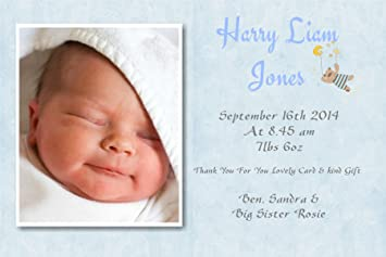 Personalised Baby Thank You Cards Baby Announcement Cards Boy - Card template free: birth announcement thank you cards