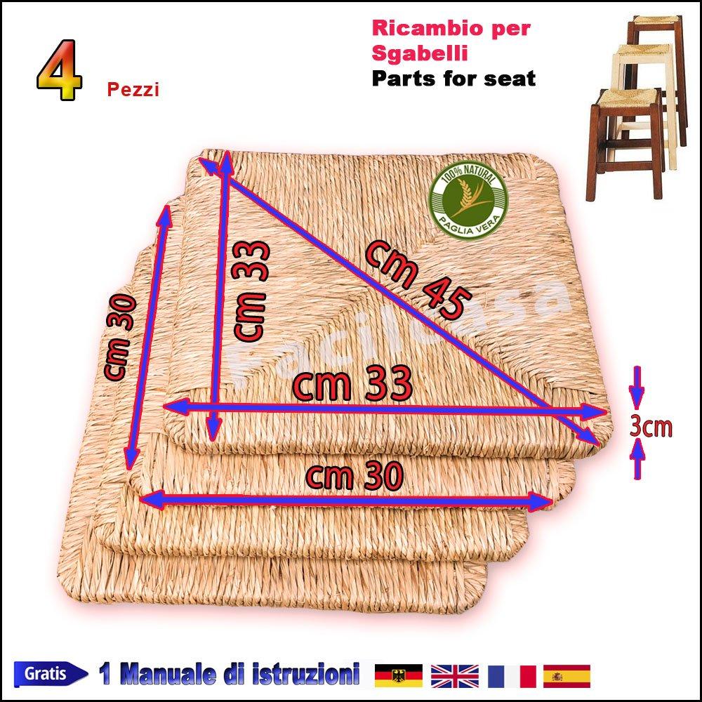 Seduta per Sgabello FACILCASA Ricambio per Sedia Paglia di Riso cm.33x33 Art.08r