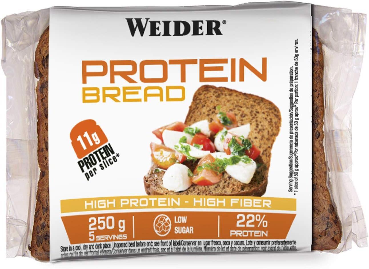 Weider Pan Proteico riquísimo con 11g de proteína. Con mucha fibra y bajo en azúcares (5x250 g): Amazon.es: Salud y cuidado personal