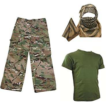 4464bff9b Kids Pack 2 HMTC MTP MultiCam Match - Shirt Pants Shemagh Army Soldier Dress  Up: Amazon.co.uk: Clothing