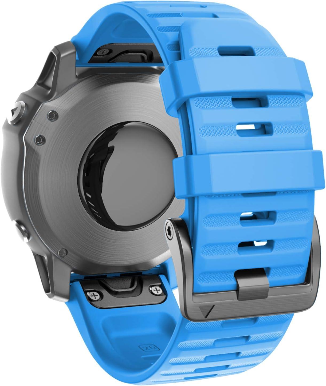 malla silicona soft 26 mm Fenix 6X Pro 5x 5x plus azul