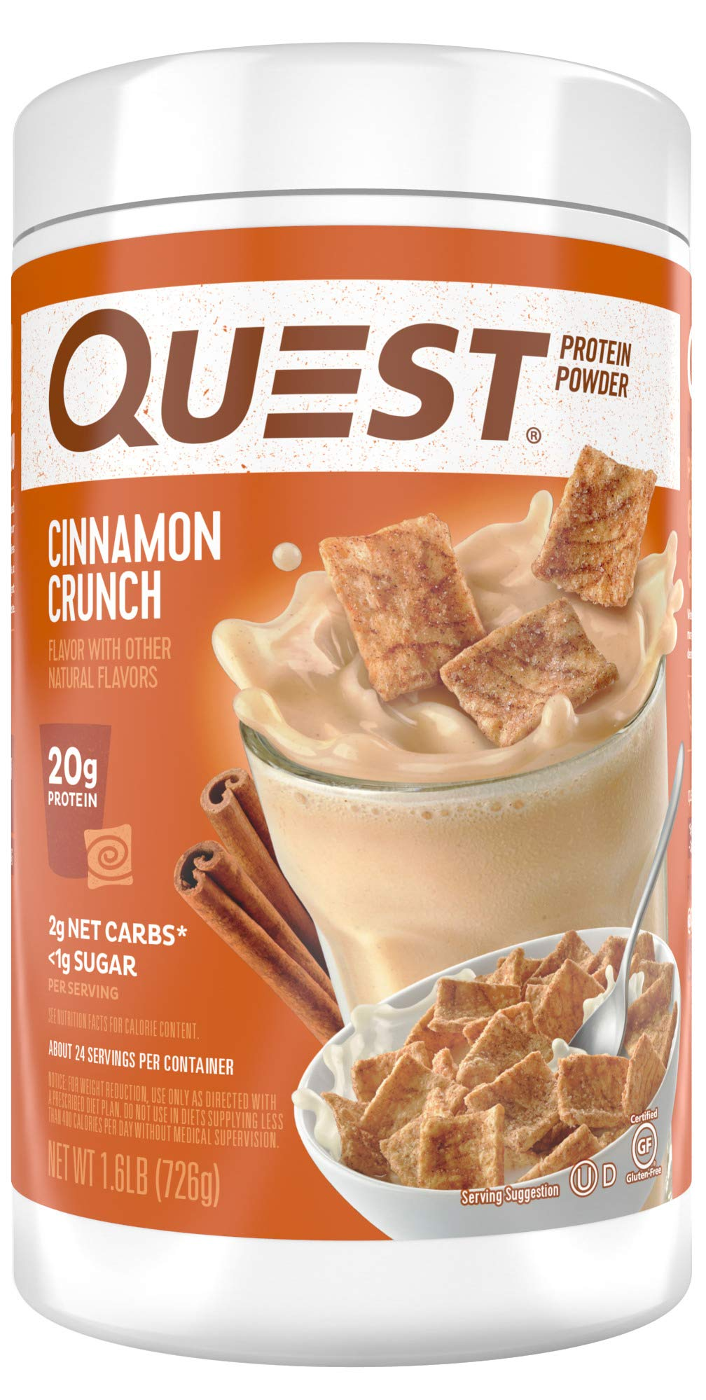 Quest Nutrition Cinnamon Crunch Protein Powder, High Protein, Low Carb, Gluten Free, Soy Free, 1.6 Pound by Quest Nutrition