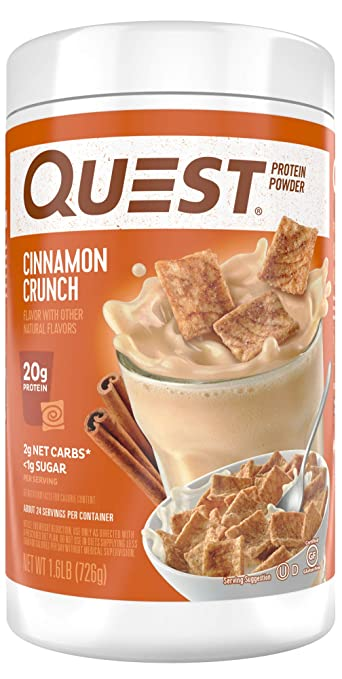 Quest Nutrition Cinnamon Crunch Protein Powder, High Protein, Low Carb, Gluten Free, Soy Free, 1.6 Pound best protein powder