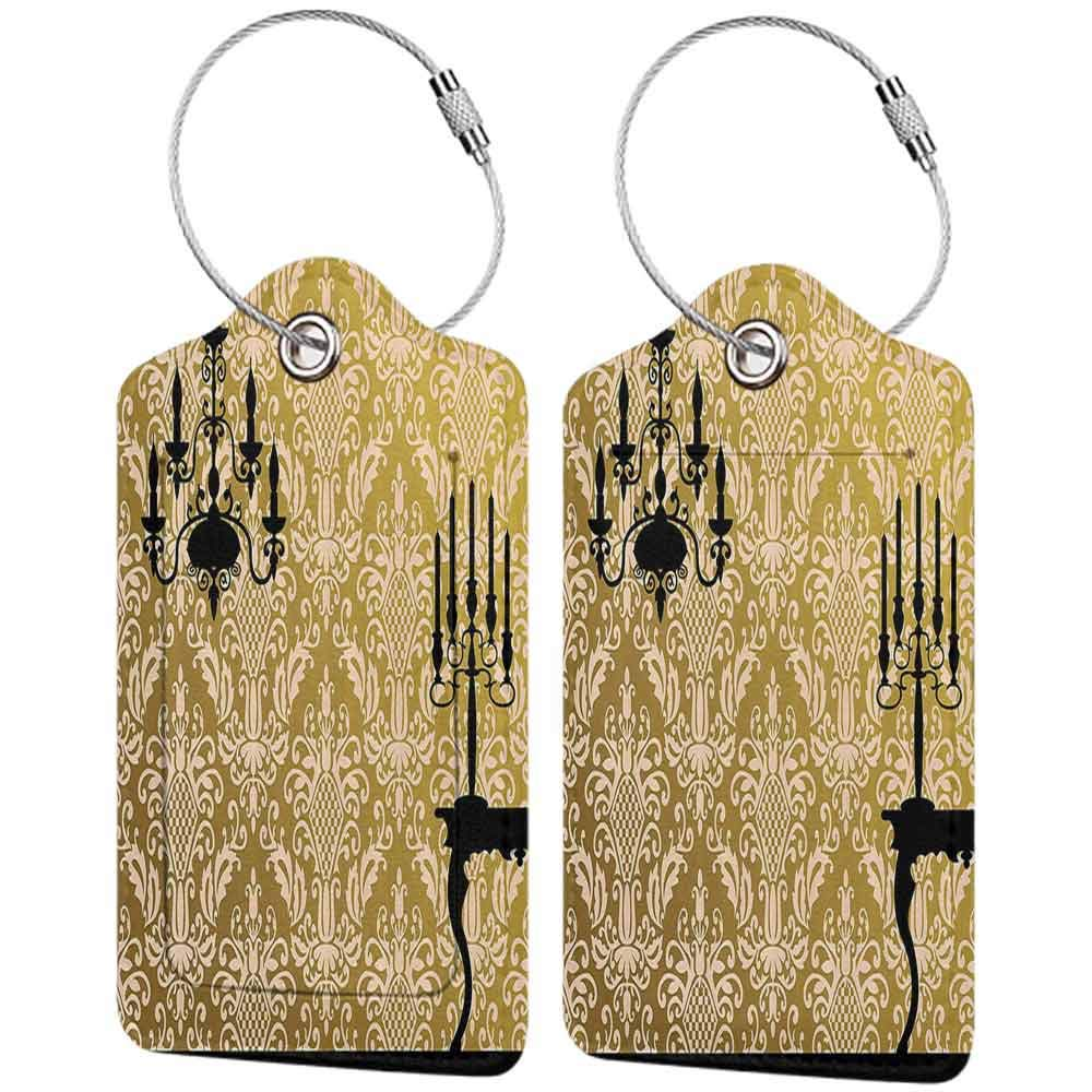 Modern luggage tag Damask Decor English Country House Damask Motif on Wall and Chandelier Silhouettes Renaissance Decor Suitable for children and adults Golden Black W2.7 x L4.6