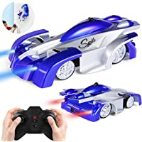 SGILE Remote Control Wall Climbing Car Toy - Dual Mode 360° Rotating Stunt Car Rechargeable Racing Vehicle Gift for Kids - Blue