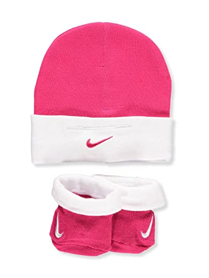Amazon.com  Nike Baby Girls  Cap   Bootie Socks Set - rush pink a5fb9c6de42