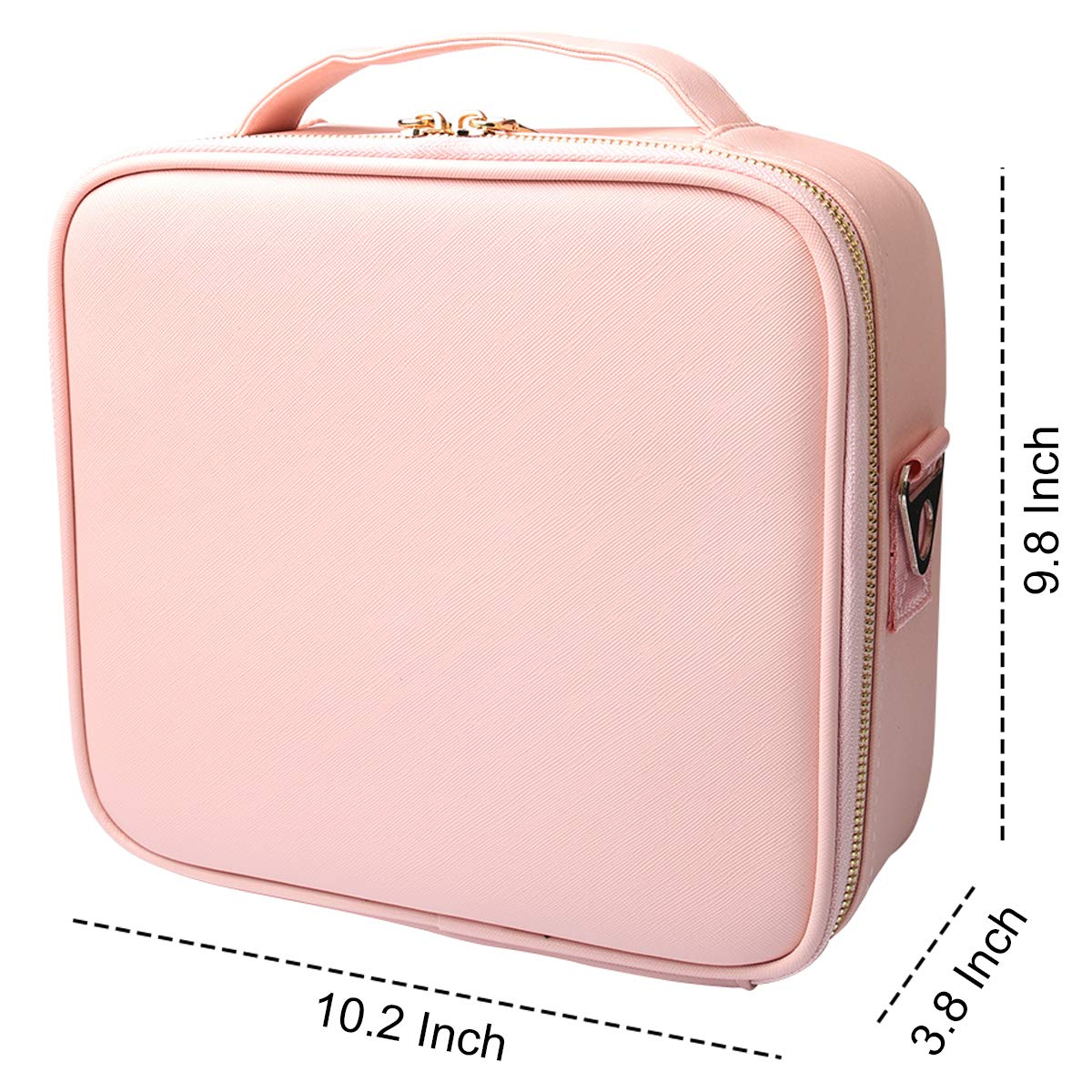 Travel Makeup Case, PU Leather Portable Organizer Cosmetic Train Case (Pink)