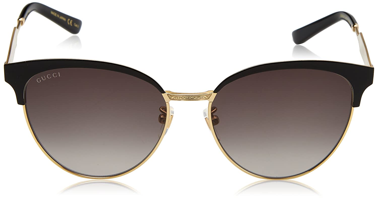 2dd719e9ef Amazon.com  Gucci Women s Clubmaster Gucci GG0074S GG 0074 S 002 Gold Black  Sunglasses 57mm  Clothing