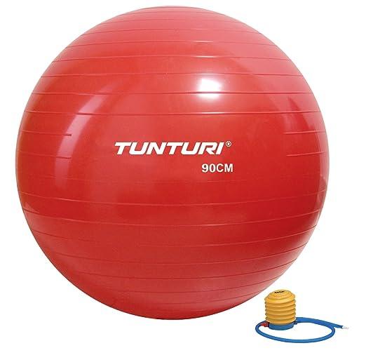 Tunturi-Fitness 14Tusfu283 Balón Suizo, Unisex Adulto, Rojo, 90 cm ...