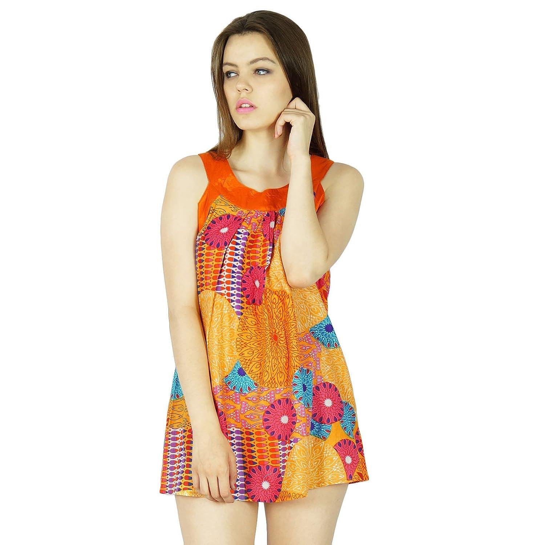 Boho Oben Sommerfrauen Sleeveless Kleidung Kleidung Lässig Tunika Sommerkleid Gedruckt