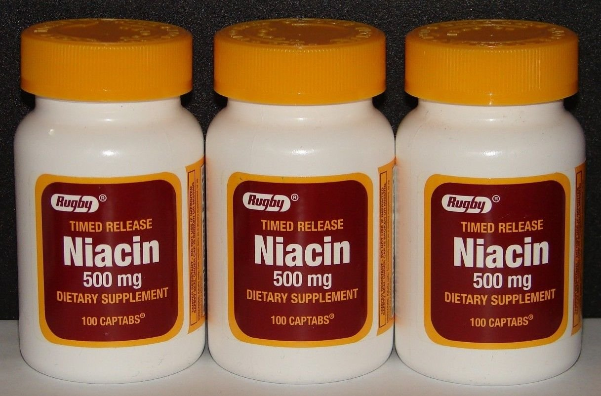Rugby Niacin 500mg Timed Release Captabs 100ct (3)