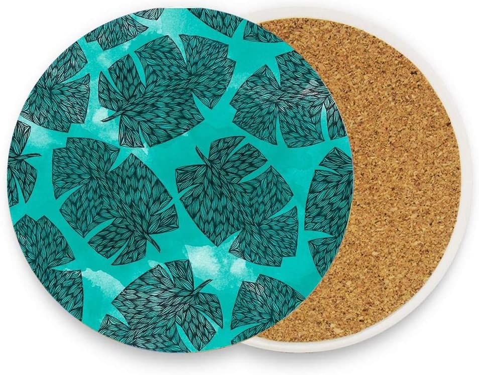 Banana Absorbent Coasters for Drinks Ceramic Stone Cork Base,Drink Cup Coaster 1 Pack No Holder