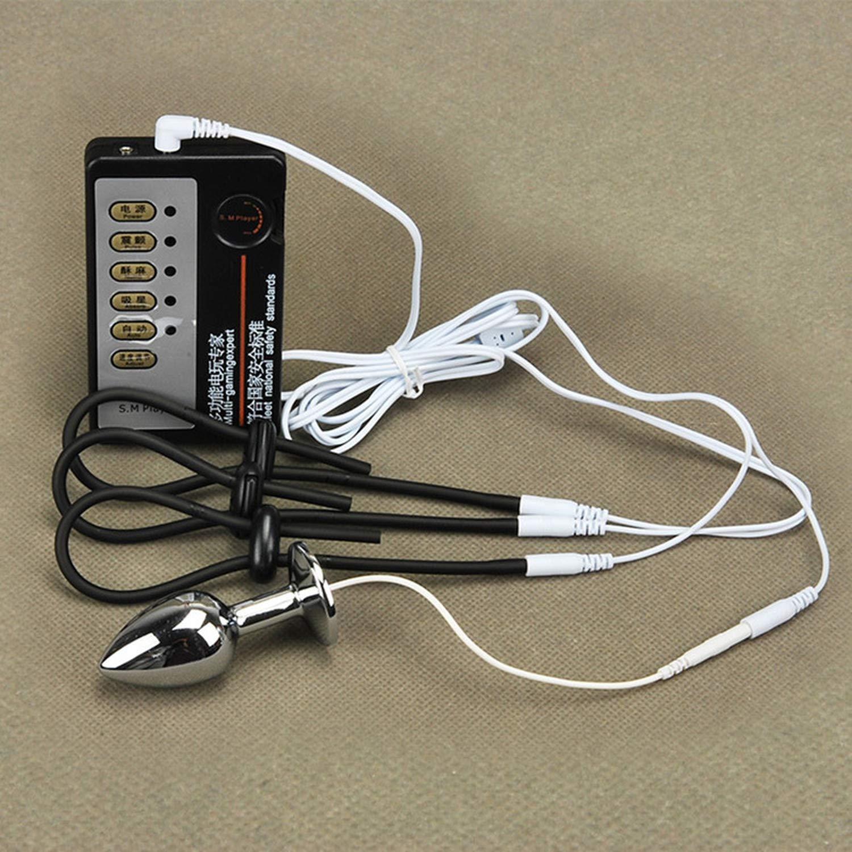 Jhjkw Shirt Silicone Jewel Plug Būtt Pulse Electric Shock Kit Rīng Metal Ànāl Plug Chá-stity Sleeve Electro Shock Būtt Plug Adūlt Game Sexaml Toys for Men,Medium