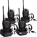 ESYNIC Rechargeable Walkie Talkies Long Range 4 Pack Two Way Radio Walky Talky with Earpieces Flashlight 16 Channel FM Handheld Transceiver Support USB Cable Charging