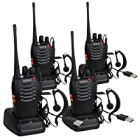 ESYNIC Rechargeable Walkie Talkies Long Range 4 Pack Two Way Radio UHF 400-470MHz Walky Talky with Earpieces Flashlight 16 Channel FM Handheld Transceiver Support USB Cable Charging
