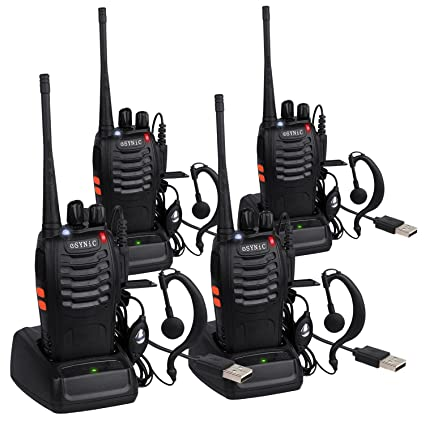2c9e034efa6 eSynic 4 Pack Rechargeable Walkie Talkies with Earpieces Long Range Two-Way  Radio 16 Channel