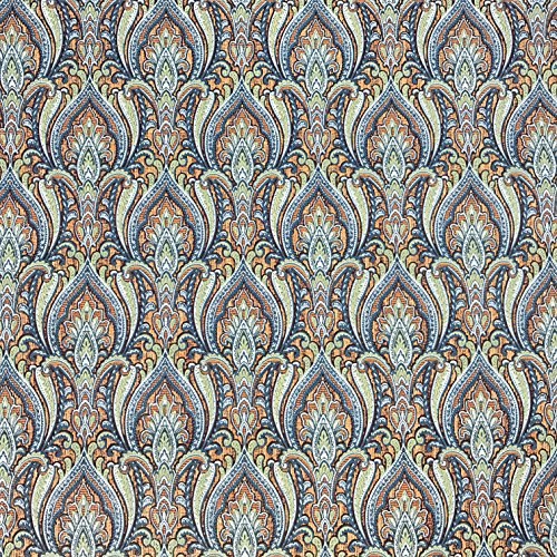 (QUADRUPLE ROLL 113.52sq.ft(4 single rolls size) Slavyanski wallcovering washable Victorian damask Vinyl Non-Woven Wallpaper textured floral glitters 3D pheasant pattern india blue green vintage style)