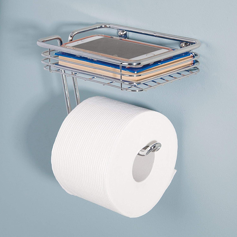InterDesign 69150EU Classico Support de Papier Toilette avec Plateau de Stockage Chrome