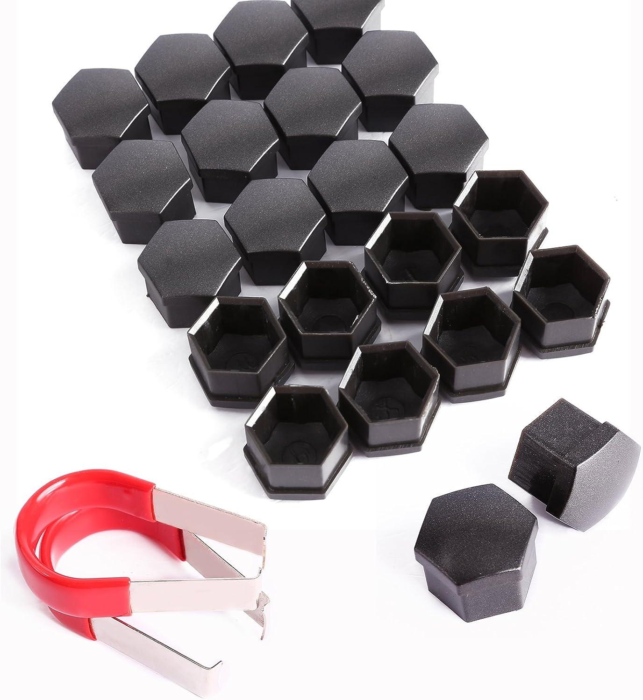 2 pinces dextraction Noir Cle de Tous Lot de 20 cache-/écrous de jante de voiture en alliage 17 mm