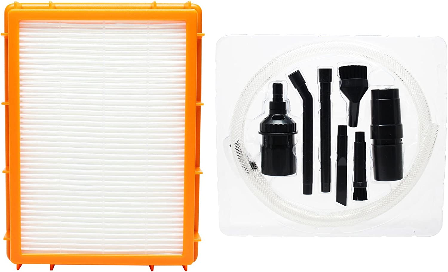 Upstart Battery Replacement for Eureka Boss SmartVac Pet Lover 4870SZX Vacuum HEPA Filter with 7-Piece Micro Vacuum Attachment Kit - Compatible with Eureka HF-2 HEPA Filter