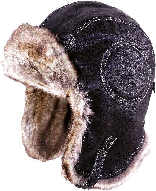 Trapper Hat Aviator Earflap Hat Faux Fur Warm Winter Hat for Men Pilot Soviet Russian Ushanka Black-White L SIGGI