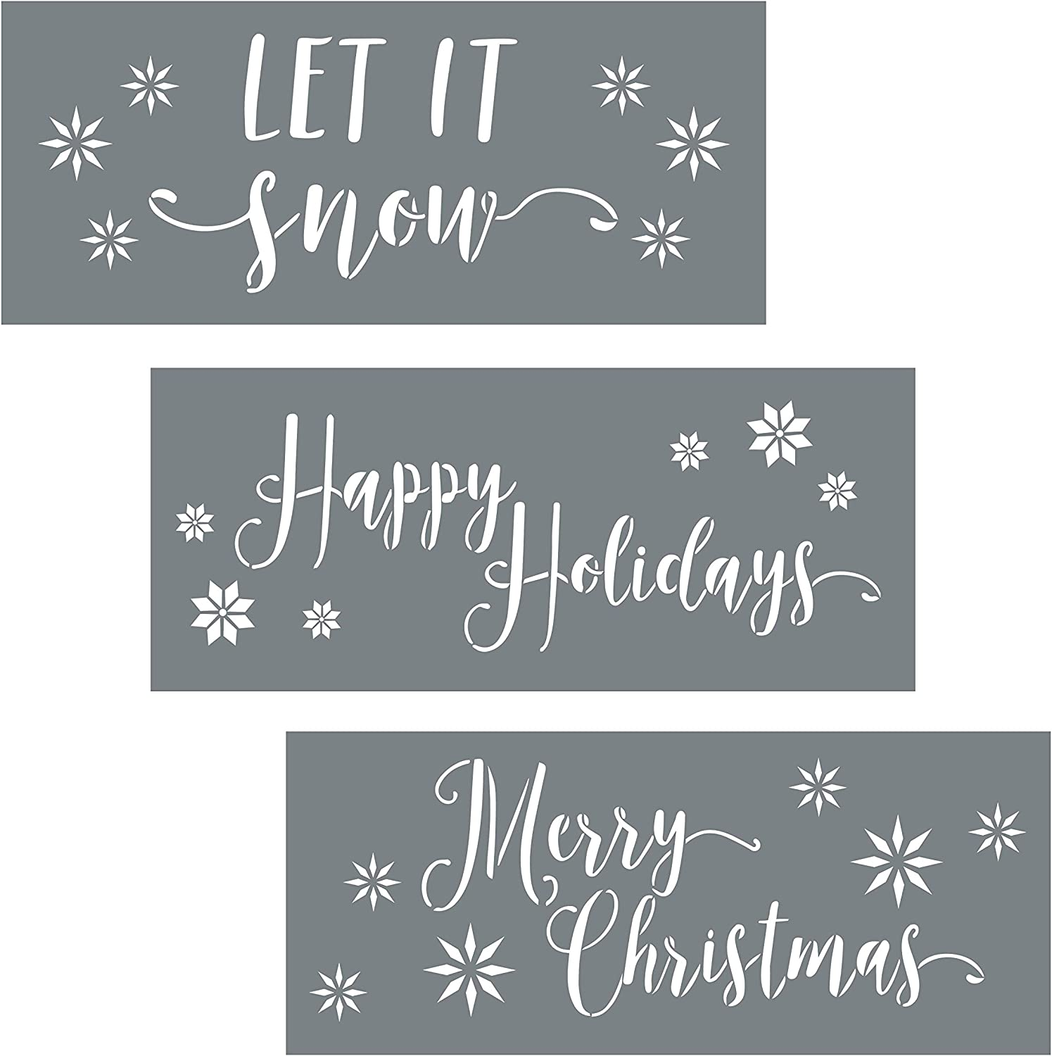 Christmas Stencils - Pack of 3 Holiday Stencils for Creating Festive Christmas Decor - Merry Christmas Stencil, Let It Snow and Happy Holiday Stencil Set - Christmas Stencils for Painting on Wood