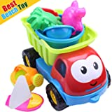 Premium Beach Toys for Kids / Toddler, Sand Beach Toys Set of 8 Pieces with Shovels Bucket Big Truck Crab for Baby Boys / Girls to Build Sand Castle
