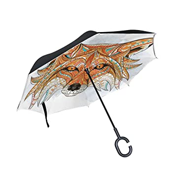BENNIGIRY Fox - Paraguas plegable de doble capa para exteriores (doble capa, para lluvia