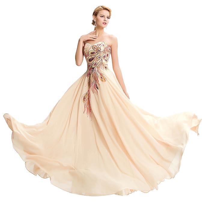 Lea Amalia Vestido de noche con plumas de pavo real para Mujer albaricoque 38