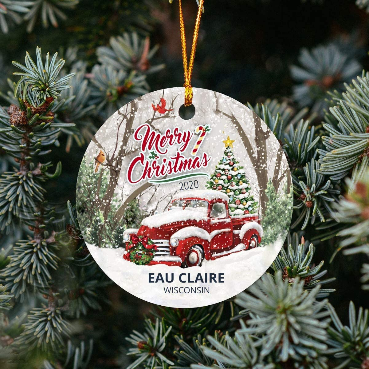 """Christmas Tree Ornaments 2020 - Ornament Customize With Name City And State Eau Claire Wisconsin WI - Red Truck Xmas Ornaments 3"""" Plastic Gift For Family, Friend And Housewarming"""