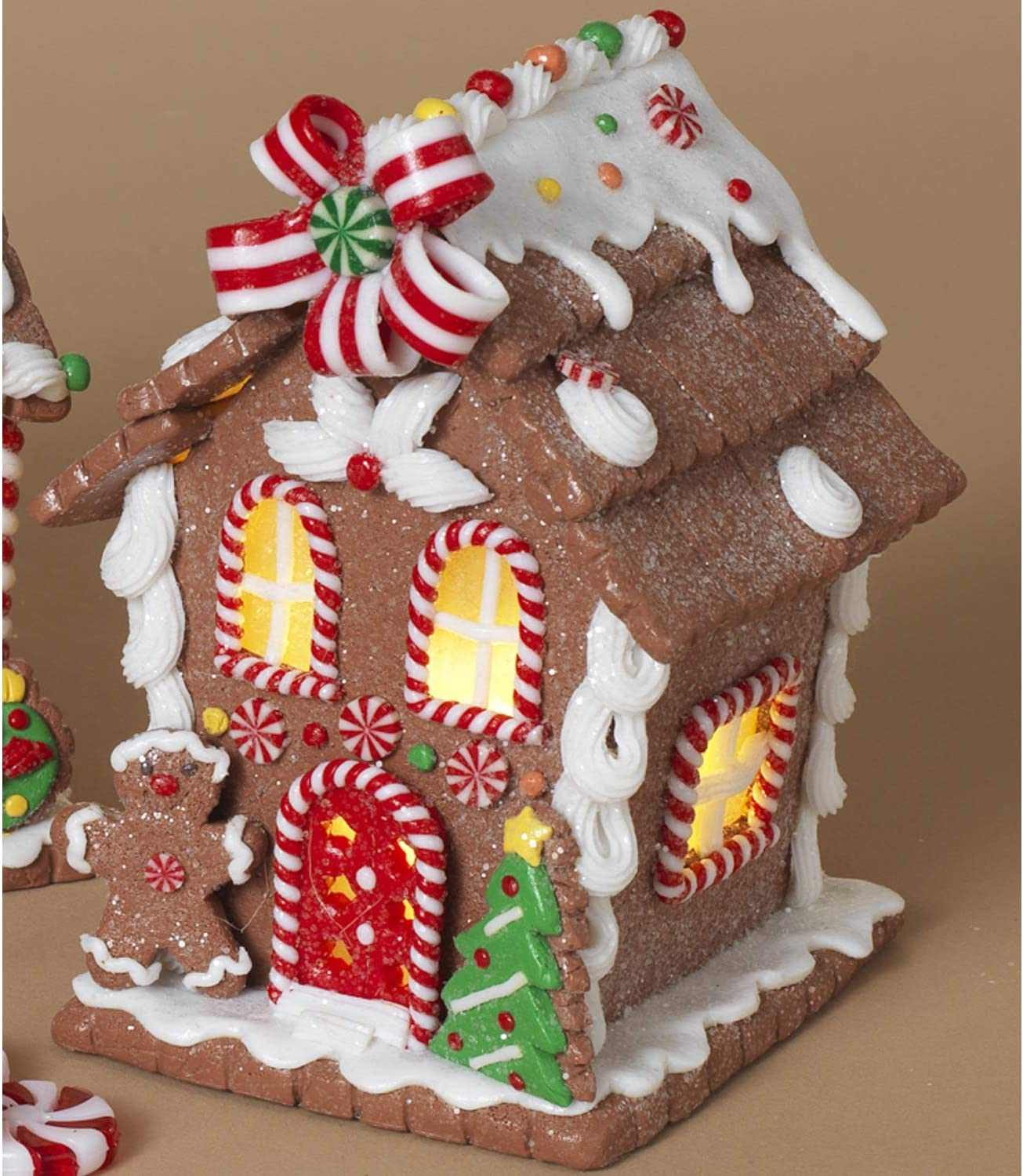 Christmas Village Home Decor 5.5-Inch Lighted Miniature Christmas Santa Gingerbread House with Candy Accents Holiday Light Up Tabletop Decoration