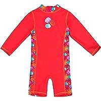 Landora Baby-/småbarnsbadkläder i en del med UV-skydd 50+ och Oeko-Tex 100-certifiering i rött eller lila