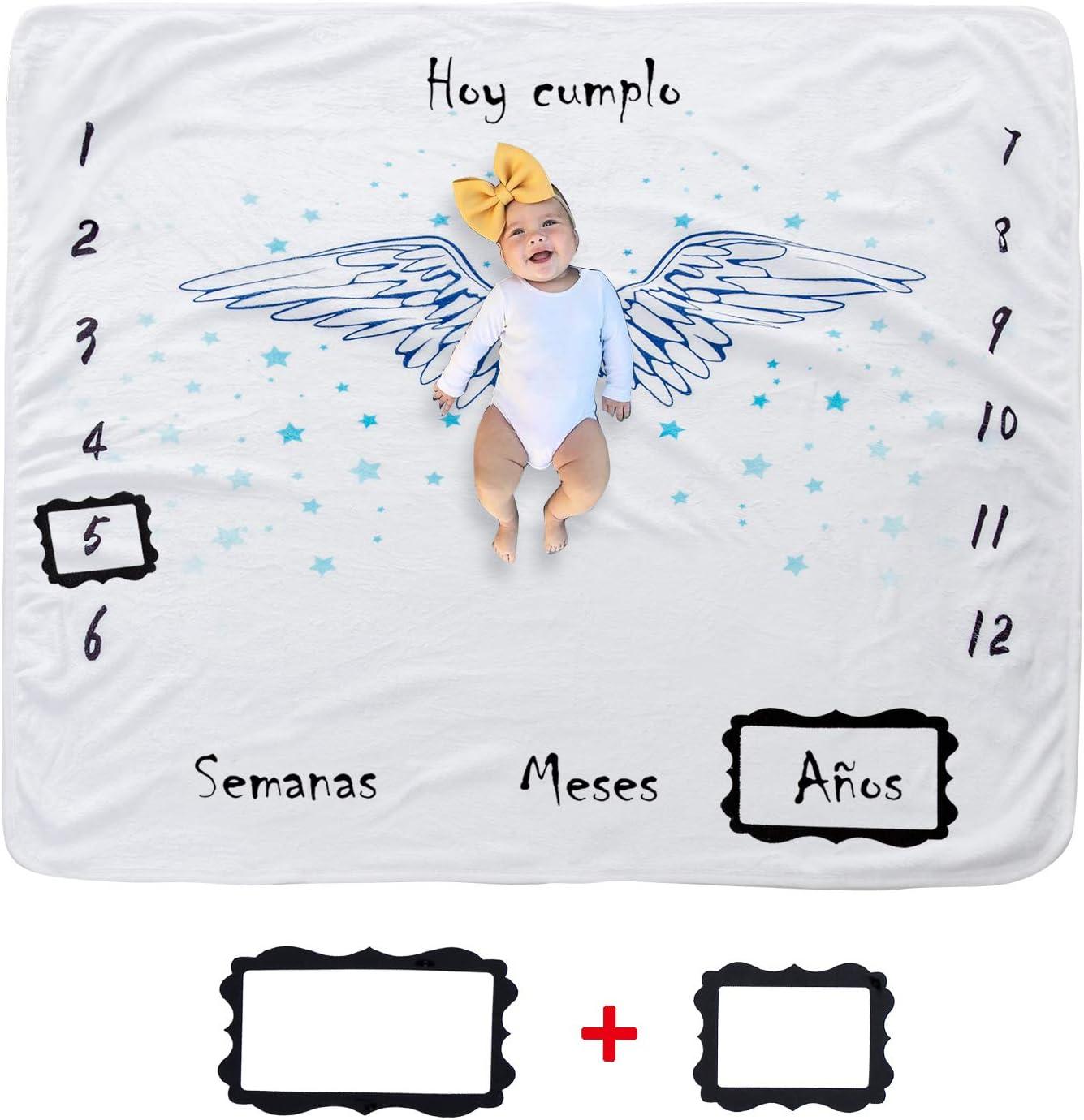 Hocaies Manta Bebe Manta Mensual Hito De Para Bebé Manta Bebe Personalizada Para Franela Adecuado para Regalos Originales para Bebes Recien Nacidos y Registros de Crecimiento Mensual.(100 * 100cm)