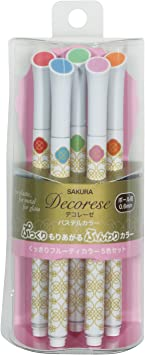 Decorese Glitter 5Color Set A Sakura Fun Writing Gel Ink Roller Ballpoint Pen