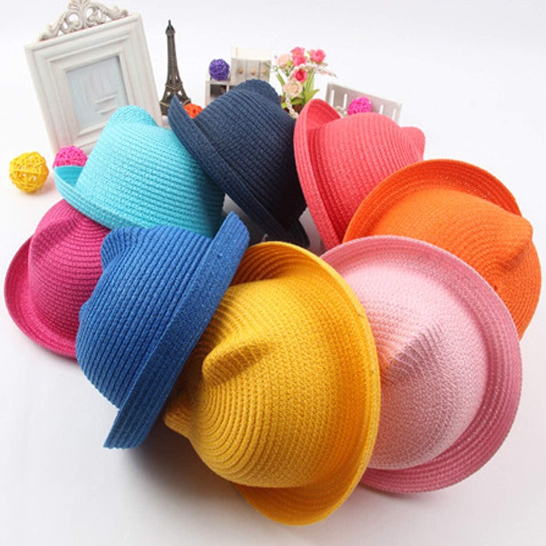 Straw Hat Character Ear Decoration Summer Cap Sun Hat for Girl Boy Bucket Cap Children Hat Beach Panama Cap