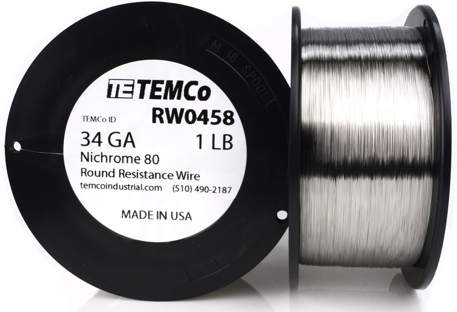 TEMCo Nichrome 80 series wire 34 Gauge 1000 FT Resistance AWG ga