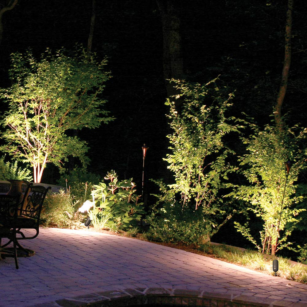 Lumina Low Voltage Landscape Lights Cast-Aluminum Waterproof Outdoor Spotlights for Walls Trees Flags Decorative Light W/Warm White 5W LED Bulb and ABS Ground Stake SFL0106-BZLED4 (4PK) by Lumina Lighting (Image #4)