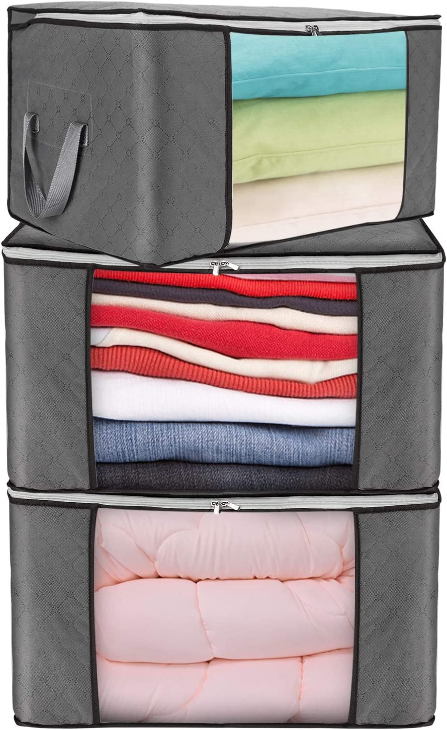 JINHODY Large Clothes Storage Bag Containers, 3 Pack Foldable Linen Storage Bags Organizer For King Comforter Blanket Bedding Pillow Quilt With Durable Zipper, Handle, Clear Window, Thick Fabric, Grey