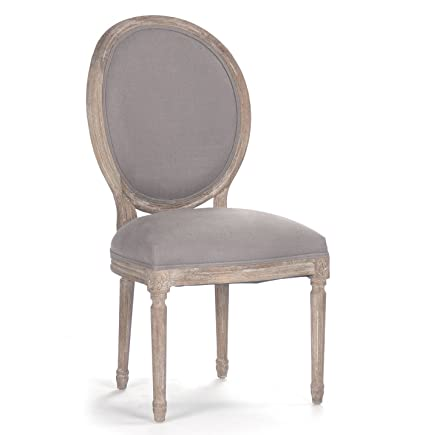 Kathy Kuo Home Pair Madeleine French Country Oval Grey Linen Dining Side  Chair
