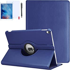 iPad 9.7 Case 2018, iPad 6th Generation Cases 2018/2017 (6th,5th) 360 Degree Rotating Stand Protective Hard-Cover Folding Case with Auto Wake/Sleep Feature (Blue)