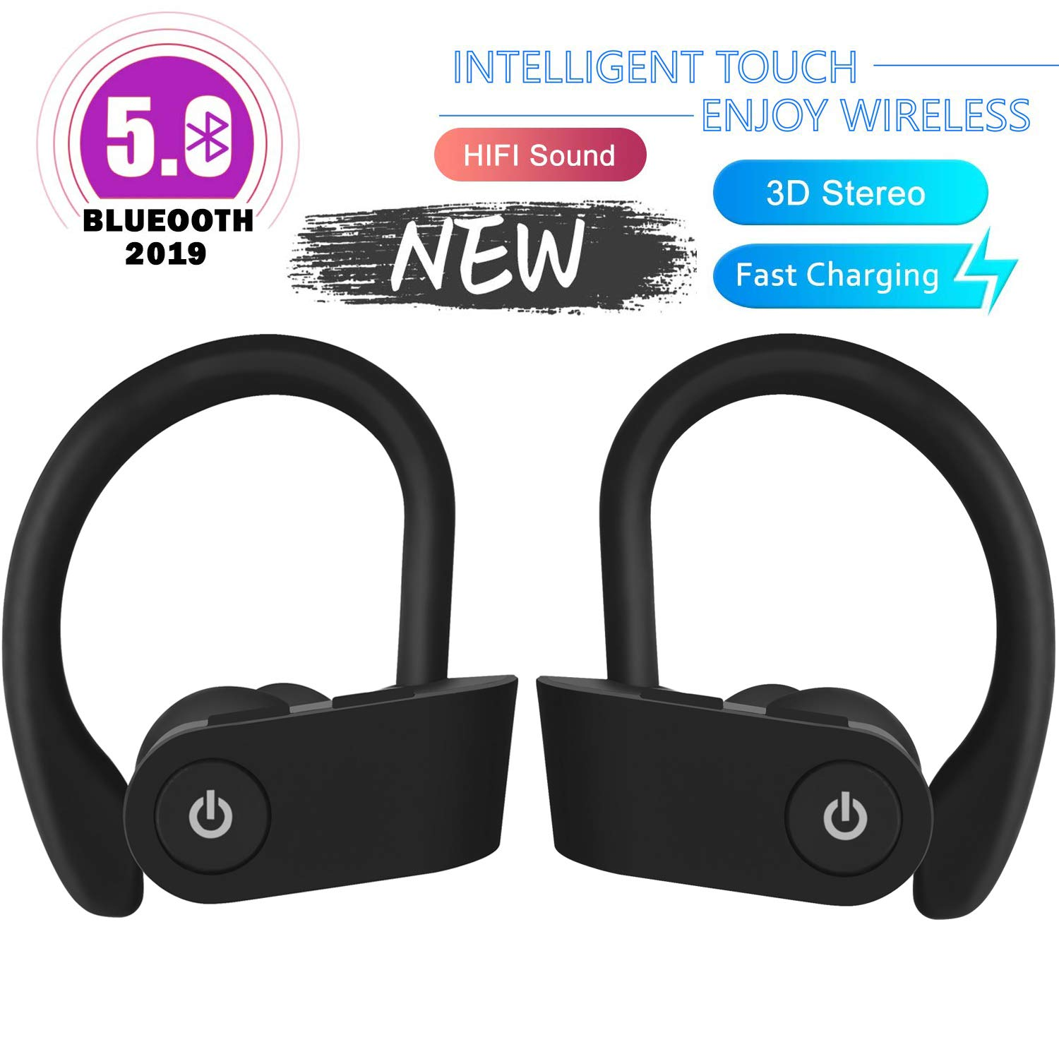 Wireless headphones, Asexy true wireless Bluetooth 5.0 sports headphones, IPX7 waterproof stereo HiFi sound, built-in microphone compatible with Android, iOS, Huawei, Samsung