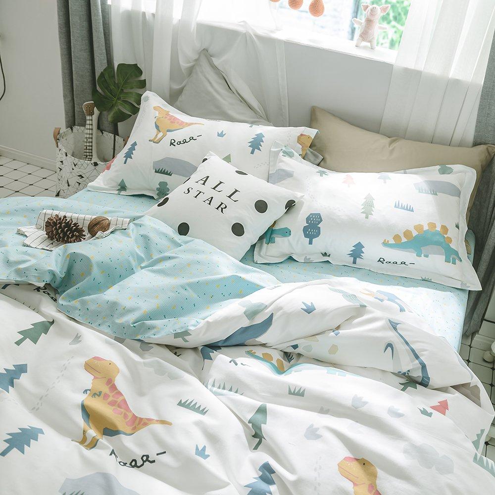 HIGHBUY Kids Dinosaur Bedding Sets Twin Boys Cotton Duvet Cover Sets 3 Piece with Hidden Zipper Reversible Blue Checkered Pattern Comforter Cover for Girls Boys Teens Bedding Twin