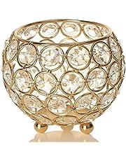 VINCIGANT Portavelas de Cristal Dorado Ideal para Maquillaje, del Hogar, Decoración de Bodas,Año Nuevo 10 cm
