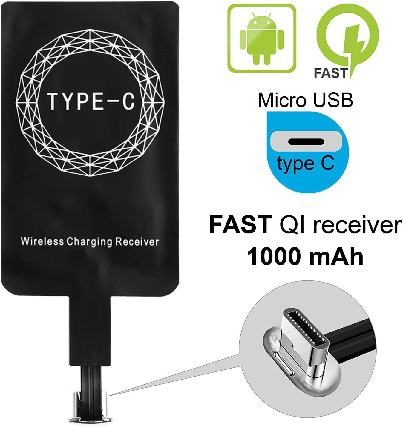 Type C Qi Wireless Charging Receiver, Magic Tag USB C Wireless Charger Adapter Patch Module Chip Ultra Thin for Google Pixel 2XL-XL-LG V20- LG G5- Motorola G6- G6 Plus- HTC 10- Samsung Galaxy A5-A7