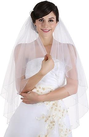 220cm Ivory Veil 87 Glass Beaded Edge Wedding Veil 87 inches Glass Beaded Veil 2 Tier Soft Tulle Veil 87