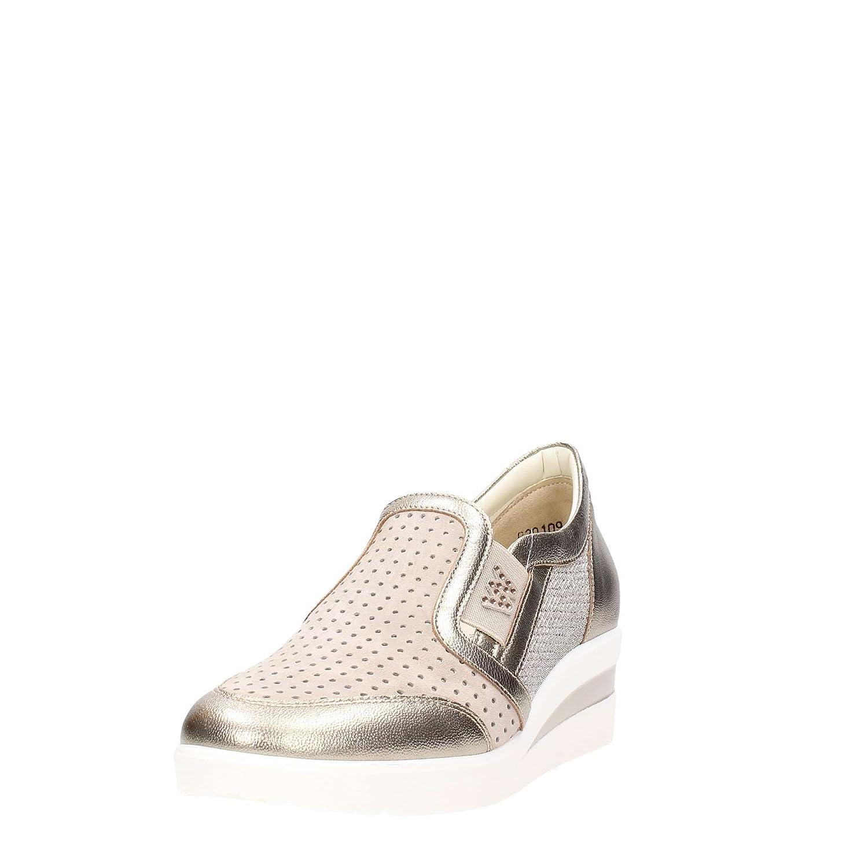 Melluso Walk R20109 Slip-on in pelle oro e nabuk beige con traforature