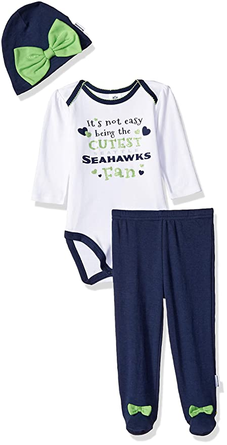 fd8721eee Image Unavailable. Image not available for. Color: NFL Seattle Seahawks Baby-Girls  Bodysuit, Pant, Cap Set ...