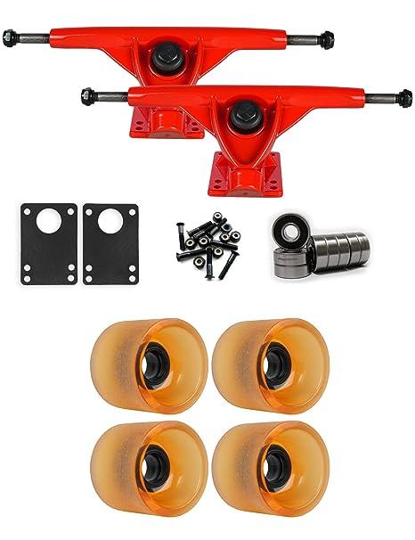 TGM Skateboards RKP Raw Longboard Trucks Wheels Package 68mm x 57mm 78A 144C Orange Clear